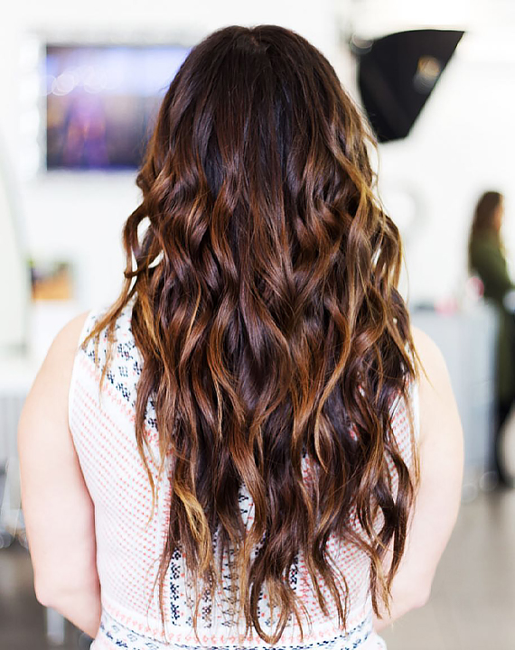 Wavy Brunette with Balayage