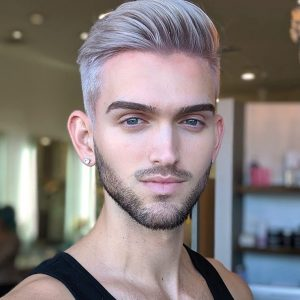 Men's Haircut Fade on Silver Blonde Hair