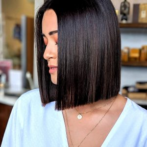 Sleek Bob on Dark Brown Hair