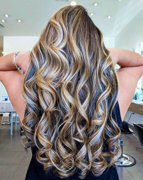 Dimmensial Balayage on Long Thick Curls