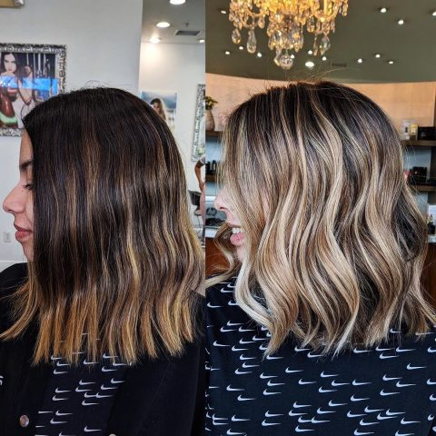 Balayage Highlights - Before and After