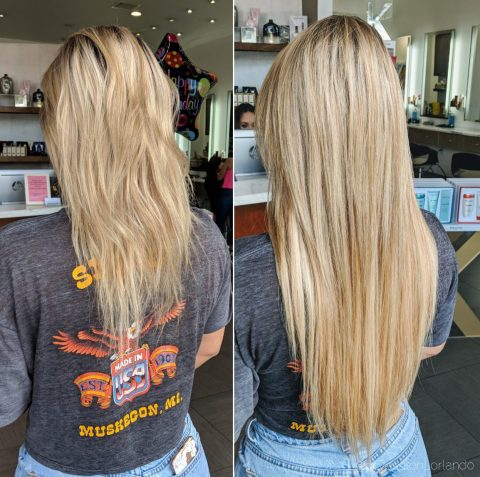 Blonde Hair Extensions - Before and After 2