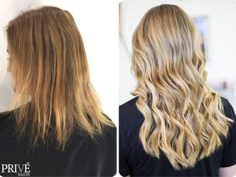 Blonde Highlights and Hair Extensions - Before and After