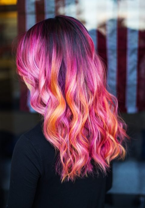 Pink and red Hair Coloring