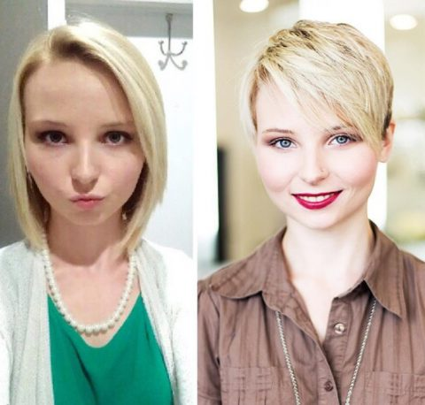 Pixie Haircut - Before and After
