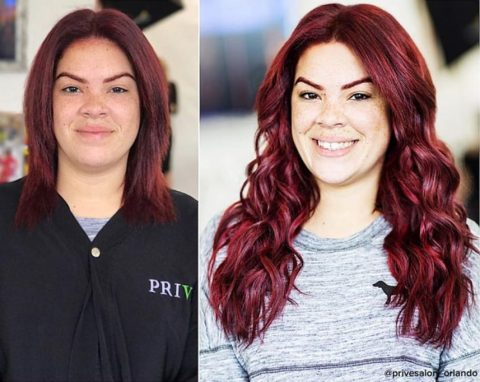 Red Hair Extensions - Before and After
